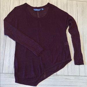 Wine color asymmetrical knit sweater